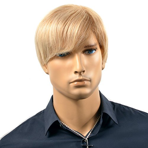 (Wigs For Men Short Straight Charming Golden Wigs Blonde for Men Synthetic Lace Hair Wig Heat Resistance Fiber Replacement Male Wig Keep Warm)