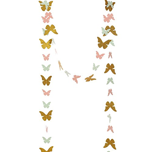 Ling's moment Paper Garland Butterfly Banner ( Gold Glitter+Mint+Coral ) for Wedding, Baby Shower, Birthday Decor & Butterfly Theme Decor, 10 Feet Long