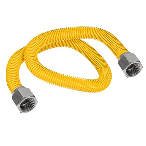 Flextron FTGC-YC14-24 22'' Flexible Epoxy Coated Gas Line Connector with 3/8'' Outer Diameter and Nut Fittings, Yellow/Stainless Steel by Flextron