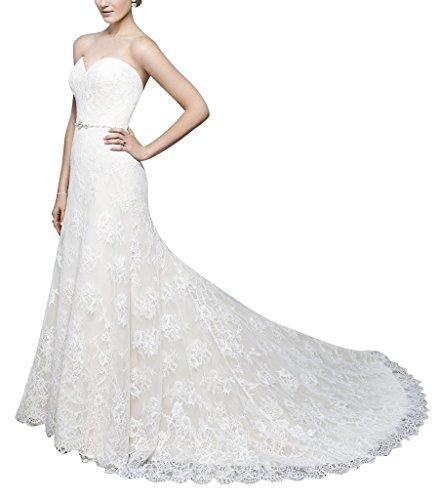 BRIDE herzfoermiger Spitze Luxus Hochzeitskleid retro Blumen GEORGE Elfenbein Reissverschluss Ausschnitt Rqwf4dxqn1