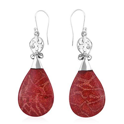 - Dangle Drop Earrings 925 Sterling Silver Sponge Coral Jewelry for Women