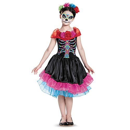[Disguise Day of The Dead Costume, Medium/7-8] (Day Of The Dead Female Mask)
