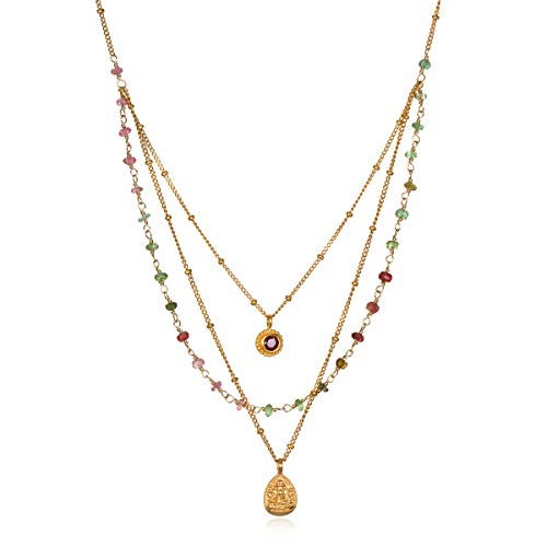 Satya Jewelry Tourmaline Gold Ganesha Faux Triple Chain Pendant Necklace 20-Inch, Multi, One Size