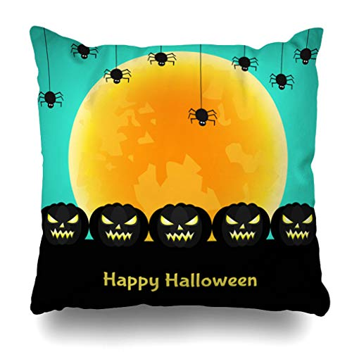 Alricc Halloween Background Black Pumpkin Moon Spider Template for Flyer Or Party Invitation Decorative Throw Pillows Cushion Cover for Bedroom Sofa Living Room 18 x 18 -
