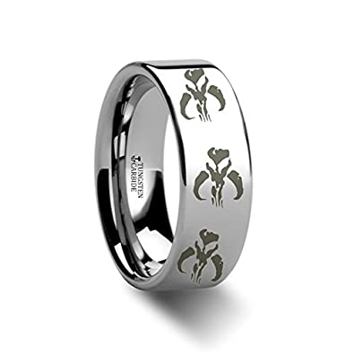 Amazoncom Mandalorian Skull Wedding Band Symbol Star Wars Boba