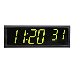 Inova Solutions 6-Digit PoE Network Clock - Black Aluminum - Green LEDs