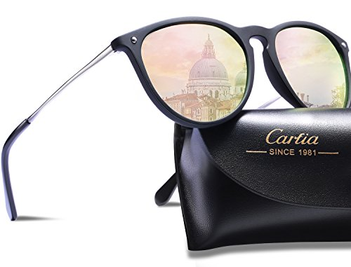 Carfia Vintage Polarized Sunglasses for Women Men, 100% UV400 Protection (Pink Mirror)