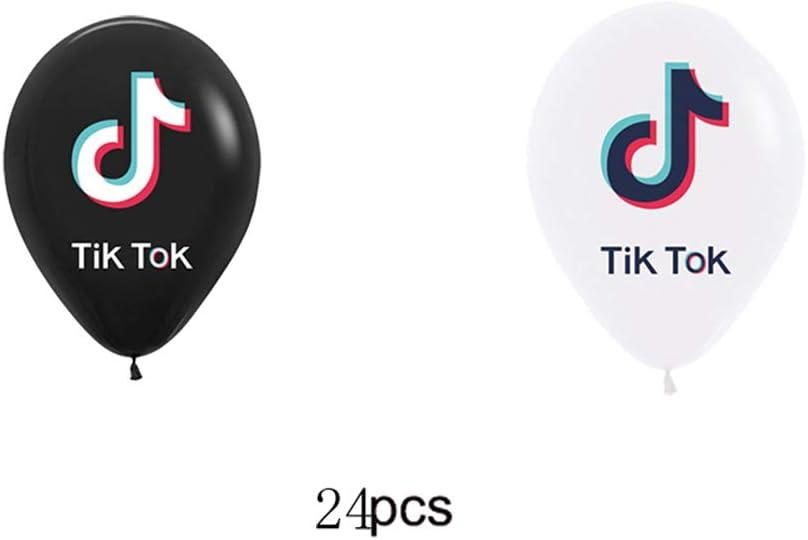 24pcs Tik Tok Cupcake Topper,24 pcs Tik Tok Happy Birthday Balloon,Tik Tok Cake Topper,Tik Tok Happy Birthday Banner.Music Theme Party for Kids Birthday