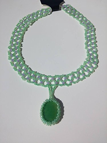Beaded Necklace, Green Apple Chrysophrase on a lace weave necklace