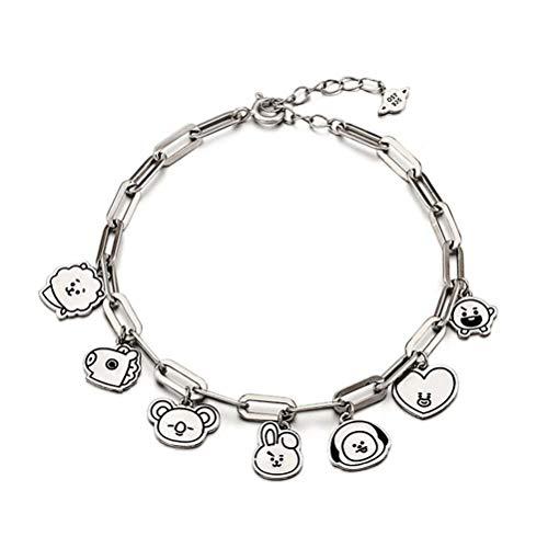 Mshion Stainless Steel Bracelet for Women Bangtan Boy Kpop BTS Bracelets Jimin Suga Pendant Link Chain
