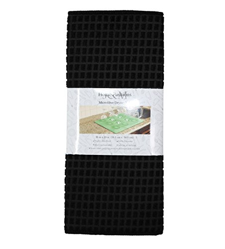 J&M Home Fashions Microfiber Check Dish Drying Mat, 15x20, Absorbent Fast Dry Machine Washable for Kitchen Countertop-Black