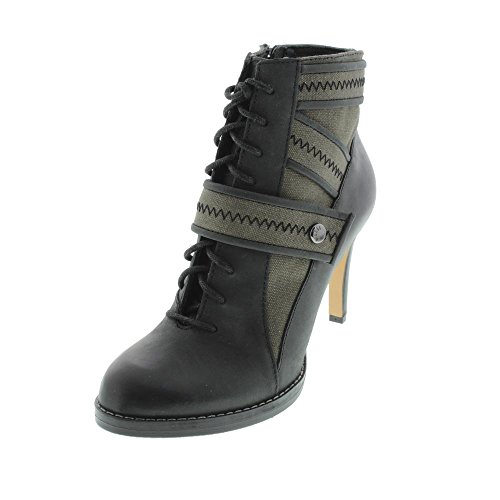 Diesel Womens Fame Strap Daissy Leather Trim Heels Ankle Boots