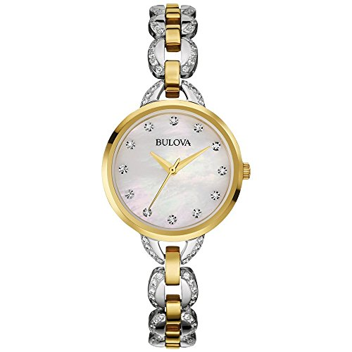 Bulova Women's 98L206 Crystal Analog Display Japanese Quartz Two Tone (Diamond White Dial Watch)