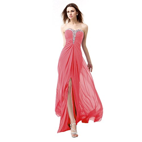BessWedding Bridesmaid Sweetheart Elegant Gown Dress Prom Long Coral Chiffon Evening TTnFxWdwU5