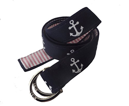 No27 Womens Anchor and Seersucker Nautical D-Ring Fabric Belt Medium Navy and White Anchors with Red - Belt Ladies D-ring