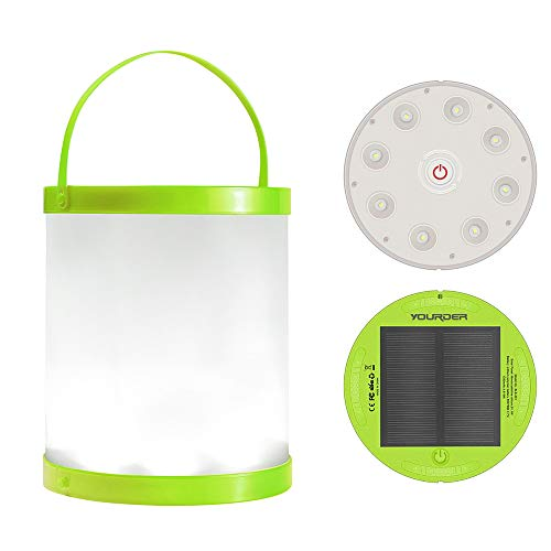 Yourder Solar LED Lantern Portable Camping Lanterns Collapsible Flashlight Waterproof Lamp for Hiking Tent Garden (Powered by Solar Panel and USB Charging)