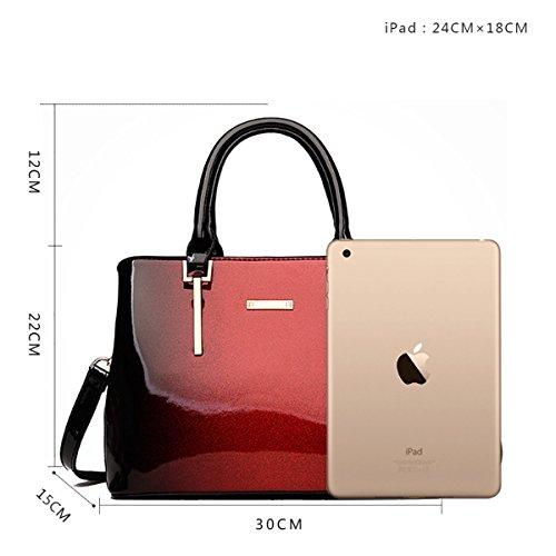 sac en bandoulière de sac Rouge verni mobile sac grand femmes de mode femmes brillantes nouvelles cuir façon cuir à le SANSJI 1Xq7wEx5W