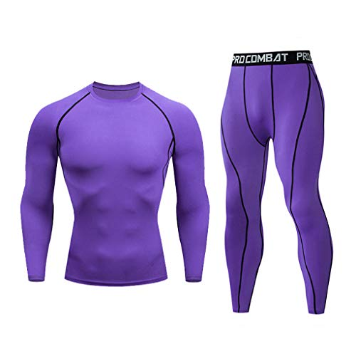 Fastbot Men's Casual Tracksuit Short Sleeve Fitness Fast Drying Elastic Long Sleeve Long Pants Sports Suit