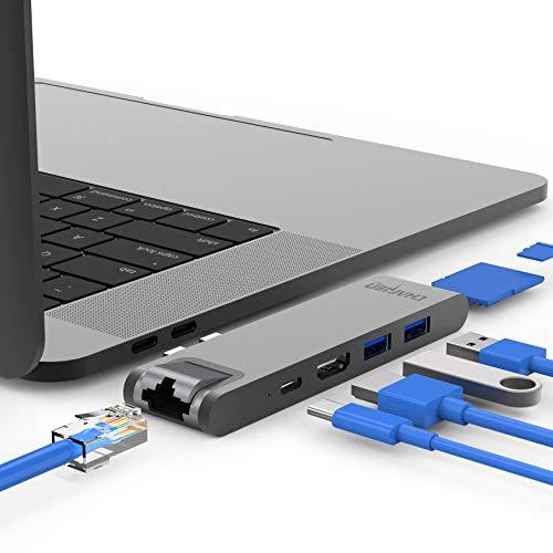 CharJenPro USB C Hub for Apple MacBook Pro 2018/2017/2016, MacBook Air 2018 +. GIGABIT Ethernet, HDMI 4K, 100W Power Delivery, 40Gbps Thunderbolt 3, 2 USB 3.0, Micro SD/SD Reader, MacBar E
