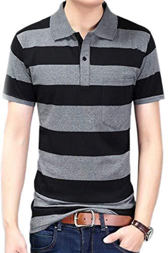 Stripes Tempo Bavero Top Stile Basic Libero Polo Moda Estate Corta Bottone Manica Shirt Dfgrey Con Semplice Uomo TqxxwPt