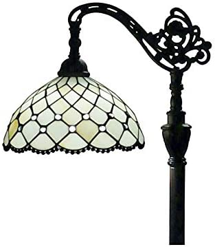 Amora Lighting Tiffany Style Floor Lamp Jeweled Beaded Arched 62 Tall Stained Glass White Antique Vintage Light Decor Bedroom Living Room Reading Gift AM121FL12, 12 Inch Diameter