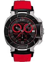 Tissot Men's T0484172705702 T-Race Quartz Red Strap Chronograph Black Dial Watch