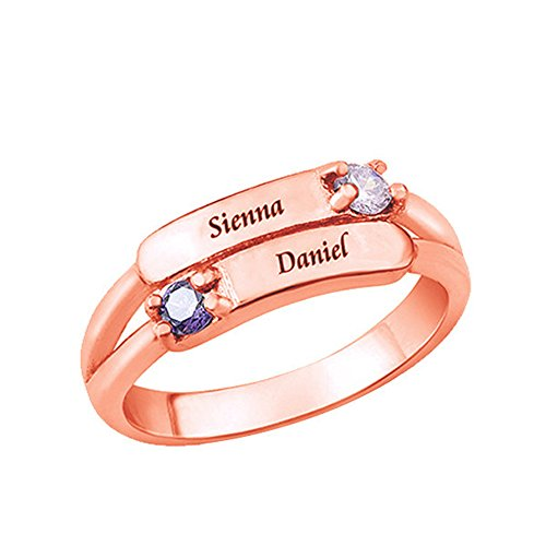 Shiny Alice Personalized Simulated Birthstone Rings for Couple Custom Engraved Names Promise Lover Rings for Women(Rose-Gold 8.5)