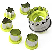 Stainless steel Cookie Cutter Set Kid Food Mold Sandwich Cookies Maker Jam Cookie Cutters(Green, 6 Pieces)