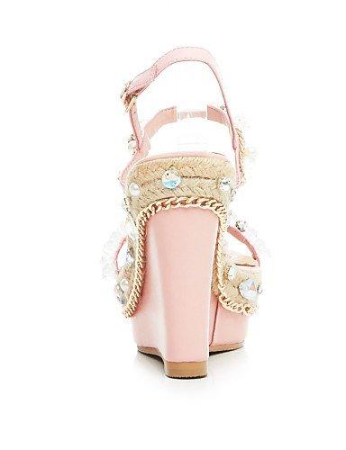ShangYi Kleid Party Wedges Knöchelriemen Pink Fersen Kuhfell Keilabsatz Sandalen Pink Damenschuhe Hochzeit Silber Abend vqnxrZv