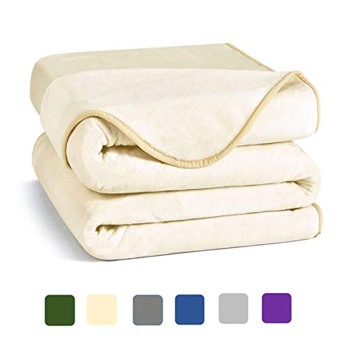 Charm Heart Luxury Fleece Blanket,Summer 350GSM Blanket Super Soft Warm Thick Blanket for Home Bed Blankets Queen Size, Ivory 90×90 in (Renewed)