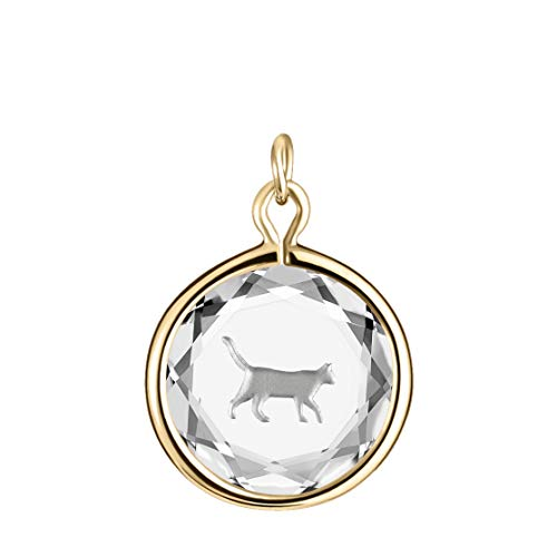 LovePendants Charm in White Swarovski Crystal with Metallic Enameled Walking Cat Engraving in 14k Gold-Plated Sterling Silver.