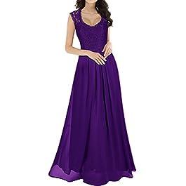 MIUSOL Women's V Neck Lace Long Chiffon Evening Dress