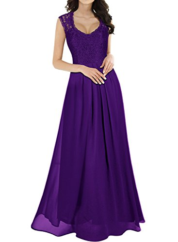 Miusol Women's Casual Deep- V Neck Sleeveless Vintage Wedding Maxi Dress (XX-Large, Purple)