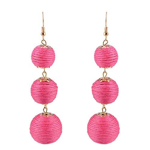 Ghome Thread Ball Dangle Earrings,Drop Earrings Wrapped Triple Balls Beaded Ball Ear Drop Charm Jewelry for Women Girls (01:Pink ball) (Lantern Craftsman)