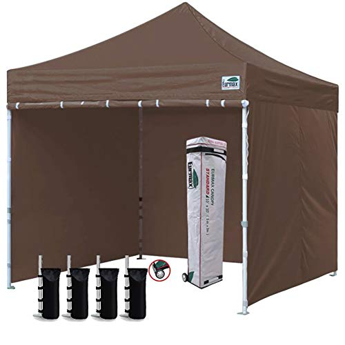 Eurmax 10'x10' Ez Pop-up Canopy Tent Commercial Instant Canopies with 4 Removable Zipper End Side Walls and Roller Bag, Bonus 4 SandBags (Cocoa)