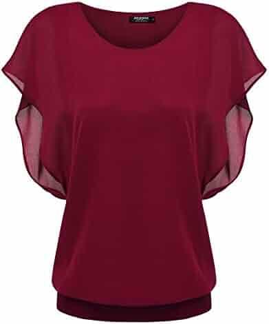 0145e67415f623 Zeagoo Women's Chiffon Loose Lace Batwing Short Flutter Sleeve Blouse Tops