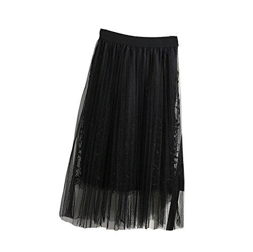 Allshope 2018 Summer New Women Ladies Elegant Gauze Skirt Mesh Pleated Skirt 4 Colors (Black)