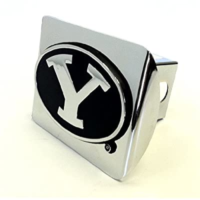 AMG Brigham Young Cougars Premium Metal Hitch Cover with Chrome Metal Emblem: Automotive