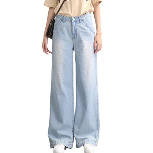 Tookang Donna Casuale Denim Pantalone Flared Senza Allungamento Taglia Grossa Magro Bootcut Jeans Pantaloni Lunghi Gamba Larga Azzurro