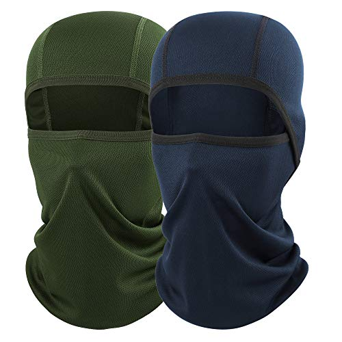 AXBXCX 2 Pack Balaclava - Breathable Face Mask Windproof Dust Sun UV Protection for Motorcycle Cycling Motocross Riding Hunting Hiking Fishing Ski Snowboard Tactical Paintball Airsoft Green and Blue (Diamond Tactical Full Face Protection Ghost Balaclava Mask)