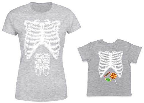 HAASE UNLIMITED Skeleton Costume 6-Pack/Candy 2-Pack Toddler & Ladies T-Shirt (Lt. Gray/Lt. Gray, Medium/3T)
