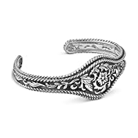 Sterling Silver Western Flowers Cuff Bracelet, Small from Relios