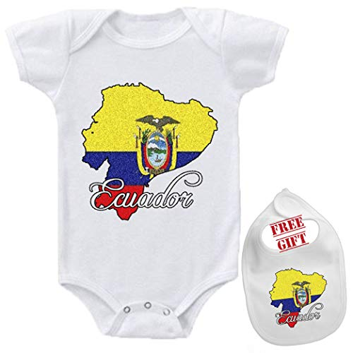 Ecuador - Cutom Funny Novelty Cute Baby Bodysuit Onesie & bib Set White]()