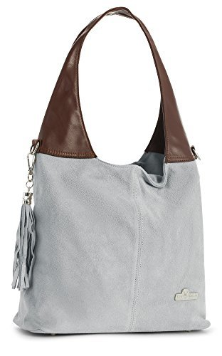 (LIATALIA Womens Girls Genuine Italian Suede and Soft Leather Hobo Shopper Shoulder Tote Handbag - AGNES [Light Grey - Brown Trim])