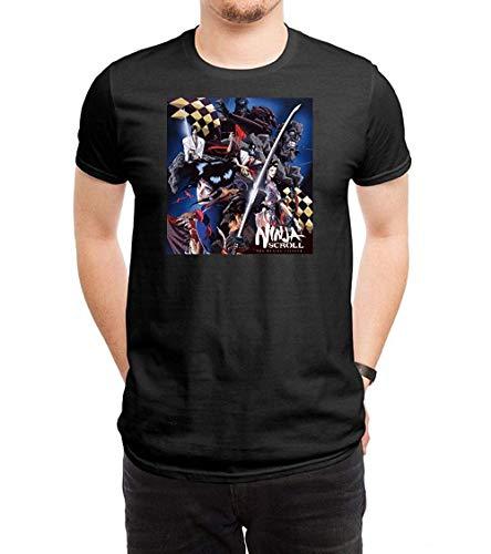 WillardSCox Men's Ninja Scroll Casual Cool T-Shirt,Black,Medium