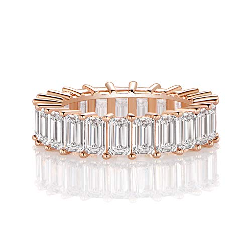 (OPALBEST Eternity Wedding Ring Band Emerald Cut Cz Stones Rose Gold Plated for Women Girls)