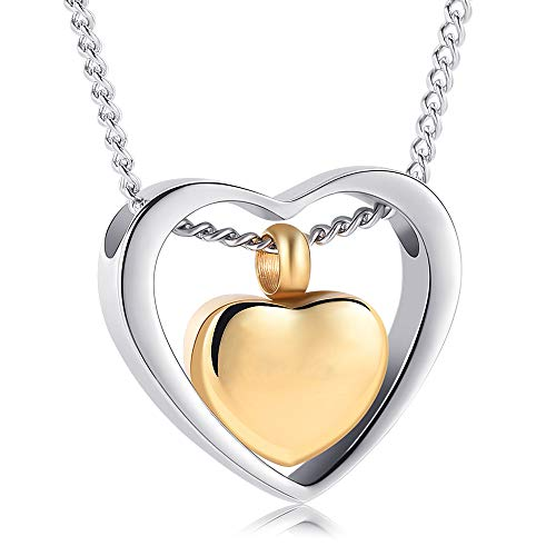 Yinplsmemory Cremation Ash Jewelry Double Heart Urn Necklace for Ashes Keepsake Memorial Pendant Cremation Jewelry