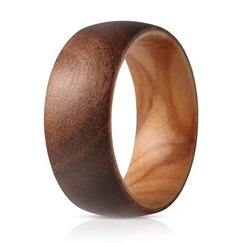 SOLEEDWooden Wedding Band with Inner Koa Layer for Strength and Outer Willow Layer - Designed for Men and Women, 8mm Natural Wood Ring, Comfort Fit Design, Domed Top - 12 ()