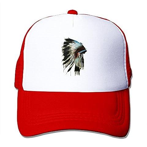Awesome Chief Headdress Hats Snapback Mesh Cap Adjustable Baseball Caps Unisex Trucker Hat Red (Chief Head Snapback)