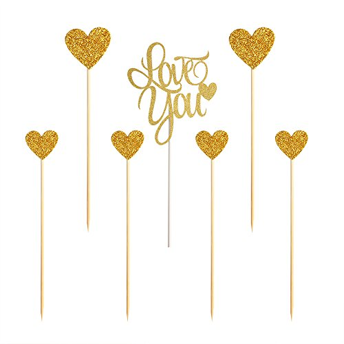 PALASASA Love you Wedding Cake Toppers ,Sparkling Gold Glittery Birthday Cupcake Picks,Wedding Party Decorations